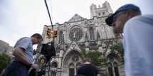 The scene at the Cathedral Church of Saint John the Divine in Manhattan on the day of Gandolfini's funeral