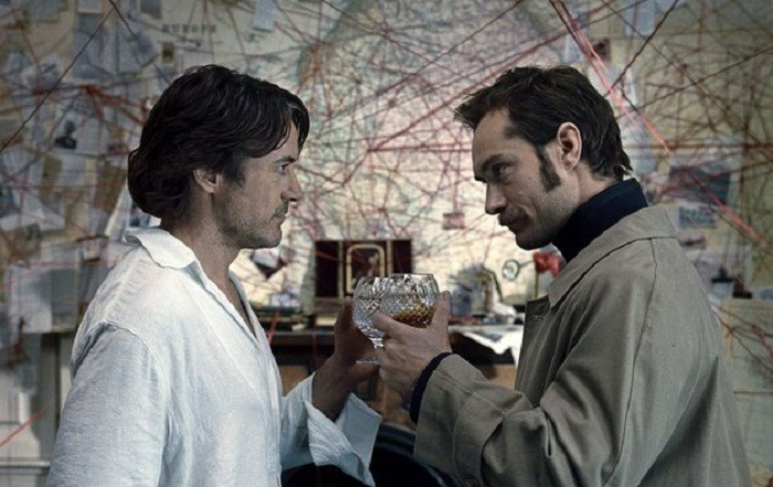 Photo Credit: Warner Bros. Pictures - Robert Downey Jr. (left) and Jude Law in a scene from ' Sherlock Holmes: A Game of Shadows
