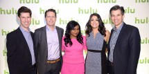 Mindy Kaling (center) stars in The Mindy Project on Hulu