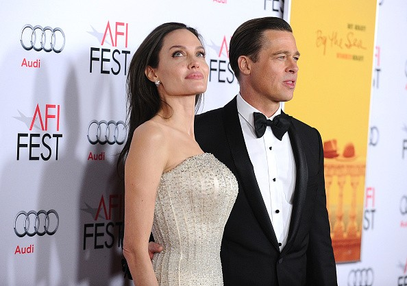 Angelina Jolie and Brad Pitt attend the premiere of 'By the Sea' at the 2015 AFI Fest at TCL Chinese 6 Theatres on November 5, 2015 in Hollywood, California.