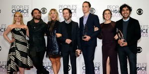 Actors Melissa Rauch, Johnny Galecki, Kaley Cuoco, Simon Helberg, Jim Parsons, Mayim Bialik and Kunal Nayyar, winners of Favorite Network TV Comedy and Favorite TV Show for 'The Big Bang Theory', pose in the press room during the People's Choice Awards 20