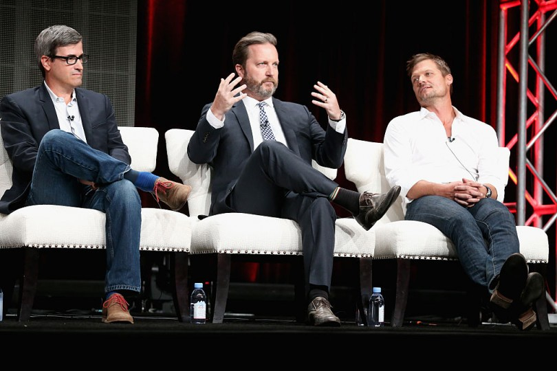 BEVERLY HILLS, CA - JULY 28: (L-R) Executive producers Hunt Baldwin, John Coveny and actor Baily Chase speak onstage during the 'Longmire' panel discussion at the Netflix portion of the 2015 Summer TCA Tour at The Beverly Hilton Hotel on July 28, 2015 in