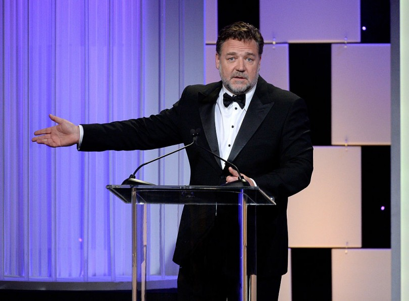 Actor Russell Crowe speaks onstage at the 30th Annual American Cinematheque Awards Gala at The Beverly Hilton Hotel on October 14, 2016 in Beverly Hills, California