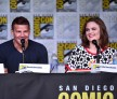 Actors David Boreanaz (L) and Emily Deschanel attend the 'Bones' panel during Comic-Con International 2016 at San Diego Convention Center on July 22, 2016 in San Diego, California.