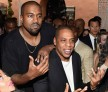 Recording artists Kanye West and Jay-Z attend Roc Nation and Three Six Zero Pre-GRAMMY Brunch 2015 at Private Residence on February 7, 2015 in Beverly Hills, California.