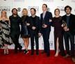 Actors Melissa Rauch, Johnny Galecki, Kaley Cuoco, Simon Helberg, Jim Parsons, Mayim Bialik and Kunal Nayyar, winners of Favorite Network TV Comedy and Favorite TV Show for 'The Big Bang Theory'.