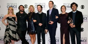 Actors Melissa Rauch, Johnny Galecki, Kaley Cuoco, Simon Helberg, Jim Parsons, Mayim Bialik and Kunal Nayyar, winners of Favorite Network TV Comedy and Favorite TV Show for 'The Big Bang Theory'.