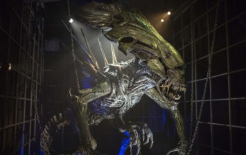A photo taken on September 12, 2014 shows the 'Alien Queen', the robot monster of the 'Alien' science fiction movies, visible after a year of restoration at the 'Miniature and Cinema' museum in Lyon.