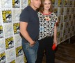 (L-R) Actors David Boreanaz and Emily Deschanel attend Comic-Con International 2016 'Bones' press line at Hilton Bayfront on July 22, 2016 in San Diego, California.