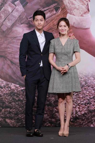 Actor Song Joong-ki and actress Song Hye-kyo attend television drama 'Descendants of the Sun' press conference on April 5, 2016 in Hong Kong, Hong Kong.