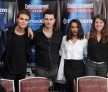 Actors Ian Somerhalder, Paul Wesley, Michael Malarkey and Kat Graham, executive producer Caroline Dries and actress Candice Accola attend SiriusXM's Entertainment Weekly Radio Channel Broadcasts