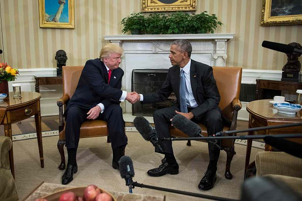 President Barack Obama shakes hands with President-elect Donald Trump in a Oval Office of a White House in Washington, Thursday, Nov. 10, 2016