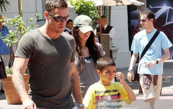 Brian Austin Green and Megan Fox with Brian's son at the Grove
