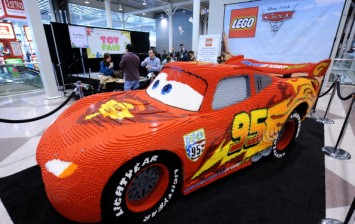 A model of the 'Lightning McQueen' from the Disney Pixar movie 'Cars 2' made from 325,000 Lego bricks on display at the Toy Fair 2011 February 15, 2011 at the Javits Center in New York.