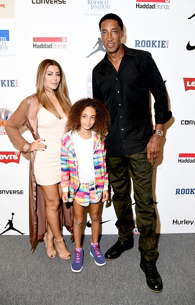 (L-R) Larsa Pippen, Scottie Pippen, and Sophia Pippen attend Rookie USA Presents Kids Rock! during New York Fashion Week.