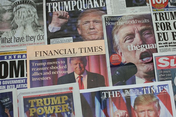 British newspapers show U.S. Republican claimant and President Elect Donald Trump on their front pages the day after Trump was announced the leader in U.S. presidential elections on Nov. 10, 2016.