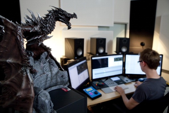 Video Producer Matt Killmon works on videos for Skyrim's new creation kit at the Bethesda Game Studios on February 7, 2012 in Rockville, Maryland.