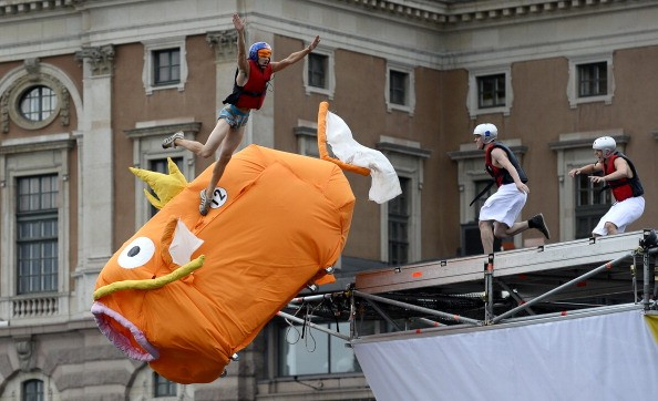 The 'Magikarp' team competes with their home-made flying machine during the 'Red Bull Flugtag' (Red Bull Flightday) on June 30, 2013 in Stockholm.
