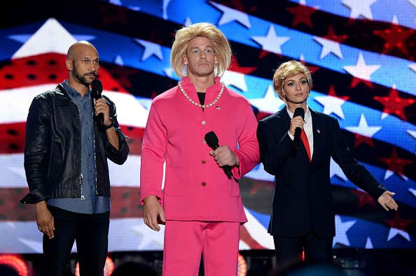 (L-R) Actor Keegan-Michael Key and co-hosts John Cena and Victoria Justice speak onstage during Teen Choice Awards 2016 at The Forum on July 31, 2016 in Inglewood, California.