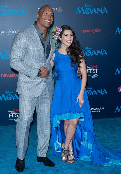 "Auli'i Cravalho and Dwayne ""The Rock"" Johnson in the Premiere of Moana"