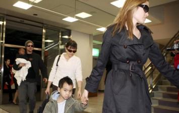 Brad Pitt, Angelina Jolie with their eldest child Maddox