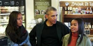 President Obama with daughters Sasha and Malia
