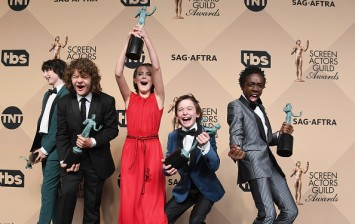 (L-R) Actors Finn Wolfhard, Gaten Matarazzo, Millie Bobby Brown, Noah Schnapp, and Caleb McLaughlin co-recipients of Outstanding Performance by an Ensemble in a Drama Series award for 'Stranger Things
