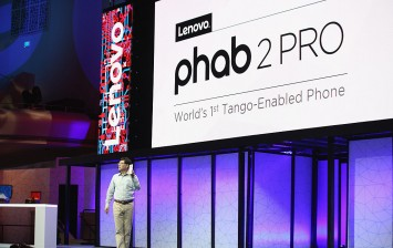 Yang Yuanqing, Lenovo CEO, unveils the new PHAB2 Pro, the world's first Tango-powered smartphone at Lenovo Tech World at The Masonic Auditorium on June 9, 2016 in San Francisco, California.