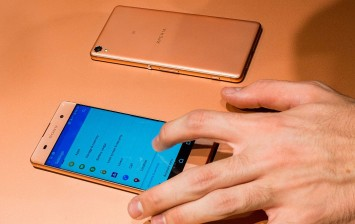 A new Sony Xperia X device is seen on the opening day of the World Mobile Congress at the Fira Gran Via Complex on February 22, 2016 in Barcelona, Spain.
