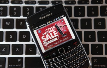 In this photo illustration, an advertisement for a Cyber Monday sale is displayed on a BlackBerry smart phone on November 29, 2010 in San Anselmo, California.