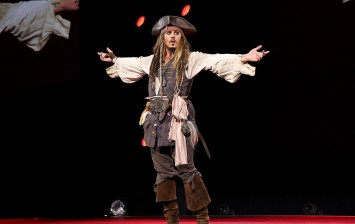 Actor Johnny Depp, dressed as Captain Jack Sparrow, of PIRATES OF THE CARIBBEAN: DEAD MEN TELL NO TALES