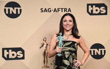 Actor Julia Louis-Dreyfus, winner of the Outstanding Performance by a Female Actor in a Comedy Series award for 'Veep,' poses in the press room during The 23rd Annual Screen Actors Guild Awards .