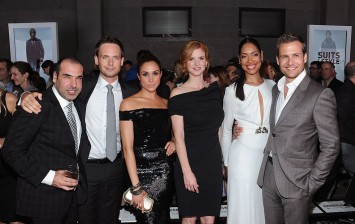 (L-R) Rick Hoffman, Patrick J. Adams, Meghan Markle, Sarah Rafferty, Gina Torres and Gabriel Macht of Suits attend USA Network and Mr Porter.com Present 'A Suits Story' on June 12, 2012 in New York.