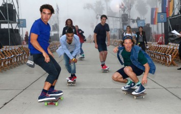 Skateboarders are seen at the TommyLand Tommy Hilfiger Spring 2017 Fashion Show on February 8, 2017 in Venice, California.