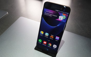 Samsung Galaxy S7 edge smartphone is on display at the Samsung booth during CES 2017 at the Las Vegas Convention Center on January 5, 2017 in Las Vegas, Nevada.