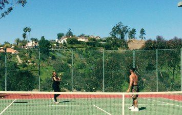 Russell Wilson and Ciara Playing Tennis