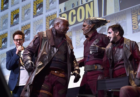 Director James Gunn (L) and Ravagers from Marvel Studios 'Guardians Of The Galaxy Vol. 2'