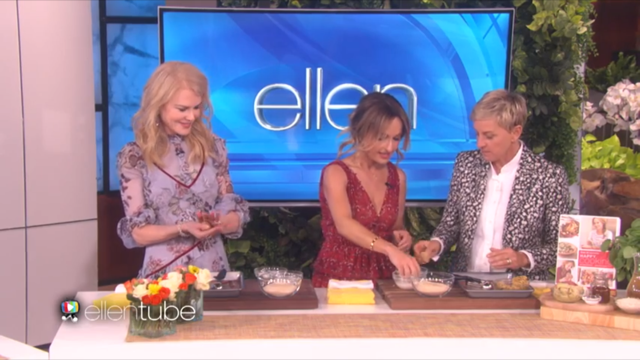 Ellen and Nicole receive cooking tips from Giada