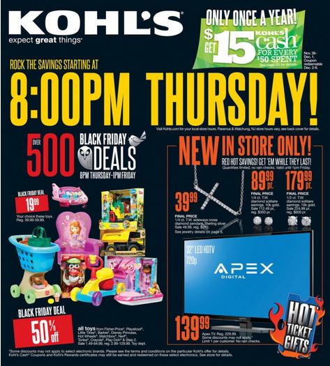 Kohls Black Friday 2013 ad. Sale Starts 8 p.m. Thanksgiving Night