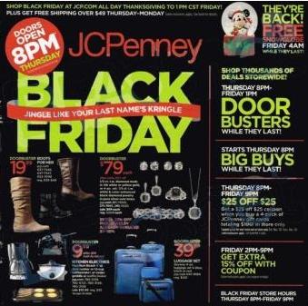 JC Penney Black Friday 2013 Ad. Sale Starst 8 p.m.