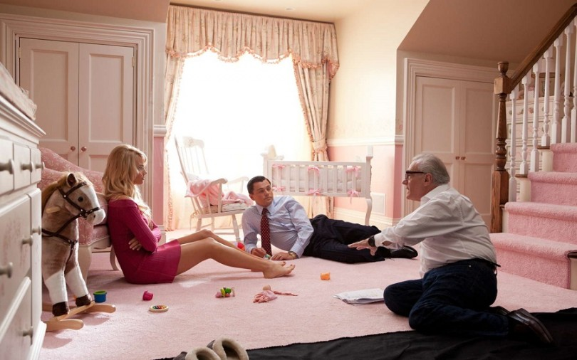 Margot Robbie, Leonardo DiCaprio and Martin Scorsese on the set of 'The Wolf of Wall Street'