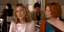 Sarah Jessica Parker and Cynthia Nixon during the 'Post-It Break-Up' Scene of 'Sex and the City'