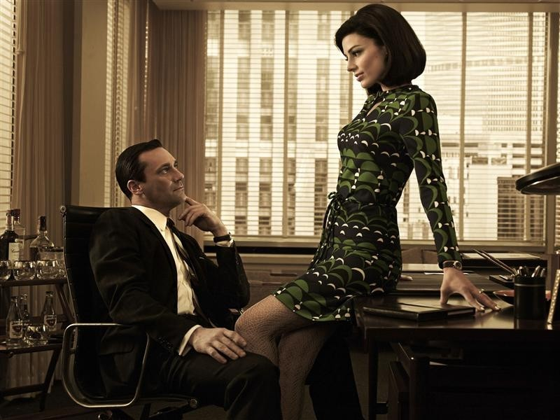 "Stars of AMC drama series ""Mad Men"" Don Draper (Jon Hamm) and Megan Draper (Jessica Pare) are pictured in this AMC handout photo."