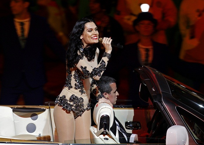 Jessie J performing at the 2012 Olympic closing ceremony