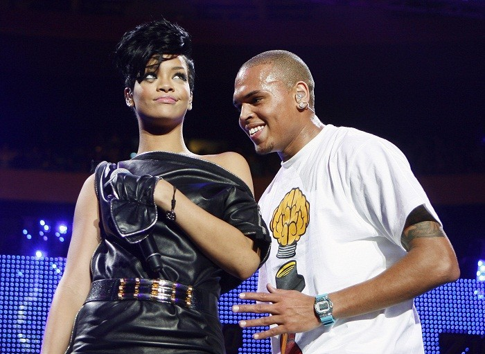 Musicians Chris Brown and Rihanna perform during the Z100 Jingle Ball in New York December 13, 2008.