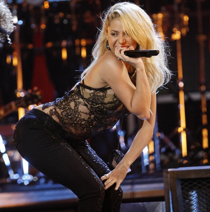"Colombian singer Shakira performs ""Loca"" at the 12th annual Latin Grammy Awards in Las Vegas, Nevada, November 10, 2011."