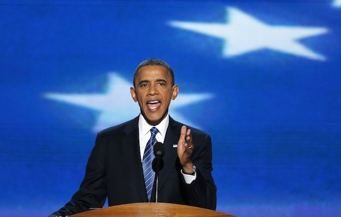 U.S. President Barack Obama addresses delegates as he accepts the 2012 U.S Democratic presidential nomination during the final session of the Democratic National Convention in Charlotte