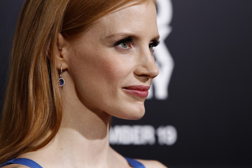 "Cast member Jessica Chastain poses at the premiere of ""Zero Dark Thirty"" at the Dolby theatre in Hollywood, California December 10, 2012."