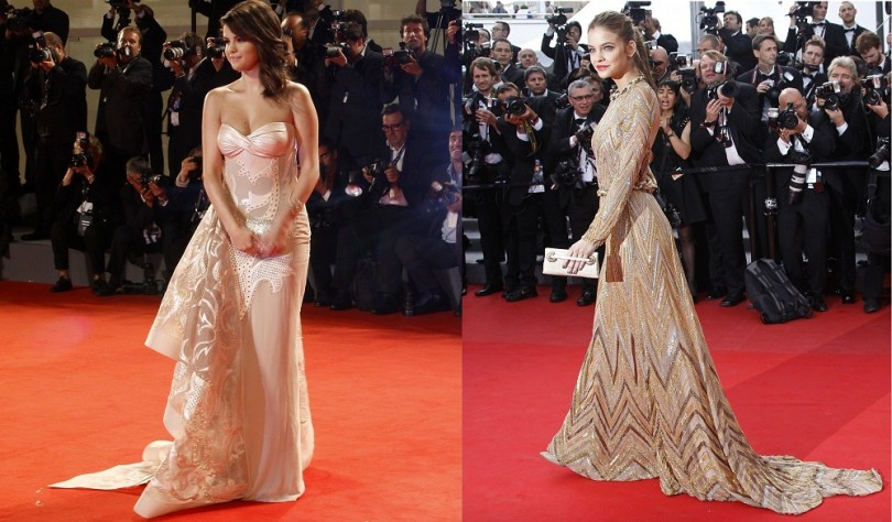 "U.S. actress Selena Gomez poses on the red carpet for the movie ""Spring Breakers"" during the 69th Venice Film Festival in Venice September 5, 2012 (Left) and Model Barbara Palvin arrives on the red ca"