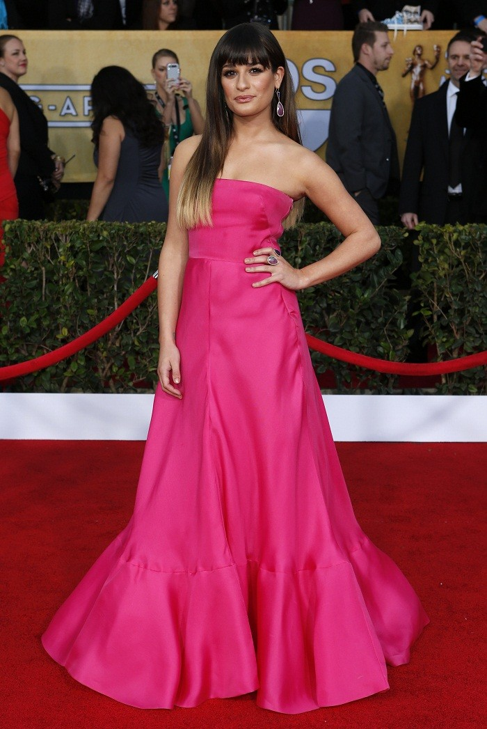 "Actress Lea Michele of the TV series ""Glee"" arrives at the 19th annual Screen Actors Guild Awards in Los Angeles, California January 27, 2013."